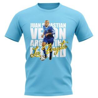 Juan Sebastian Veron Argentina Player T-Shirt (Sky Blue)
