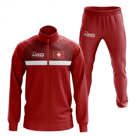 Switzerland Concept Football Tracksuit (Red)