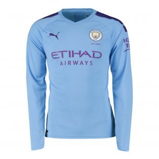 2019-2020 Manchester City Puma Home Long Sleeve Shirt