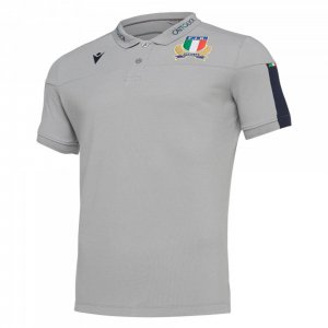 2019-2020 Italy Macron Rugby Official Cotton Polo Shirt Grey