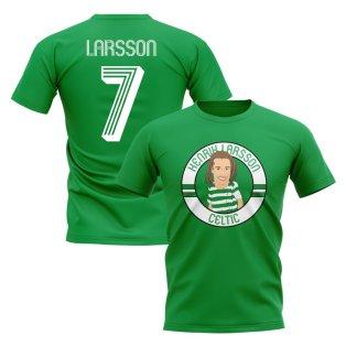 Henrik Larsson Celtic Illustration T-Shirt (Green)