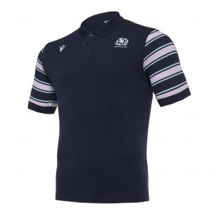 2019-2020 Scotland Macron Rugby Leisure Stripe Polo Shirt (Navy)