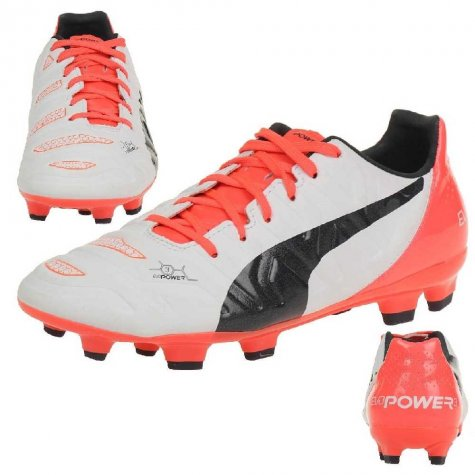 Puma Evopower 3.2 FG Football Boots (White-Orange) - Kids