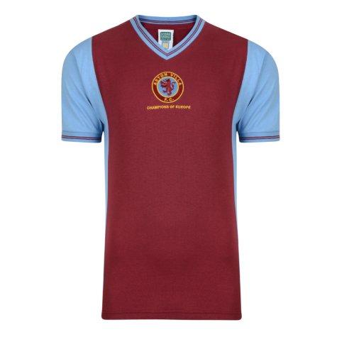 Score Draw Aston Villa 1982 Champions of Europe Retro Football Shirt