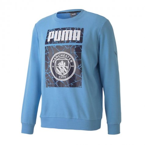 2020-2021 Man City ftblCore Graphic Sweat Top (Blue)
