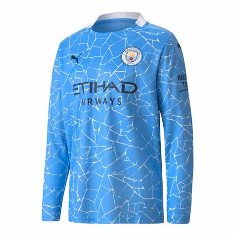 2020-2021 Manchester City Puma Home Long Sleeve Shirt (Kids)