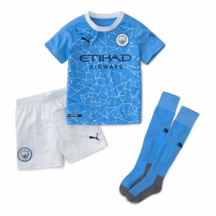 2020-2021 Manchester City Home Little Boys Mini Kit