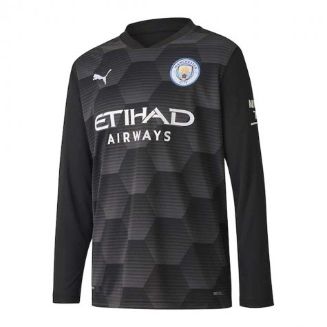 2020-2021 Man City Home Goalkeeper Shirt (Black) - Kids