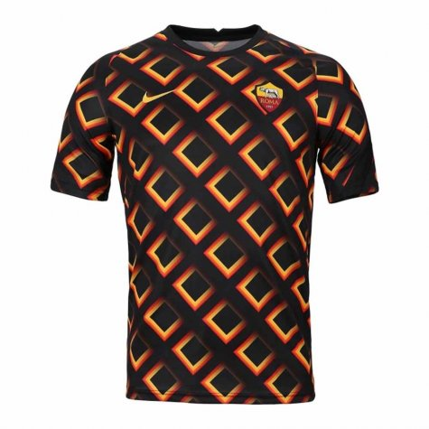 2020-2021 AS Roma Nike Pre-Match Training Jersey (Black) - Kid