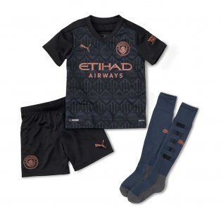 2020-2021 Manchester City Away Little Boys Mini Kit
