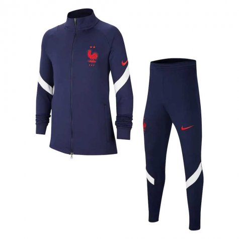 2020-2021 France Nike Dry Strike Tracksuit (Navy) - Kids