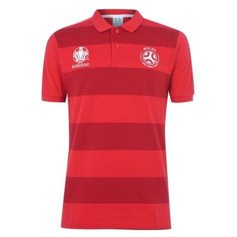 Wales 2021 Stripe Polo Shirt (Red)