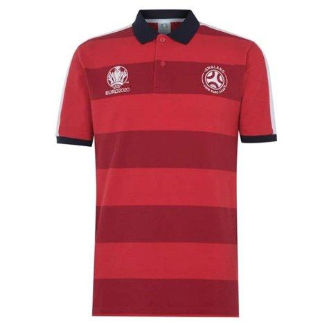 England 2021 Stripe Polo Shirt (Red)