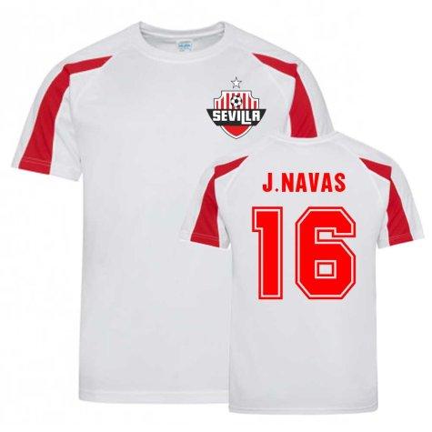 Jesus Navas Sevilla Sports Training Jersey (White).