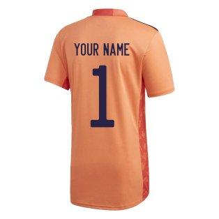 2020-2021 Spain Home Adidas Goalkeeper Shirt (Orange) (Your Name)