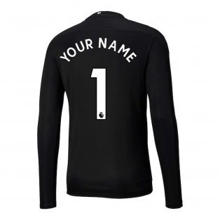 2020-2021 Man City Home Goalkeeper Shirt (Black) - Kids (Your Name)