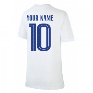2020-2021 France Nike Evergreen Crest Tee (White) (Your Name)