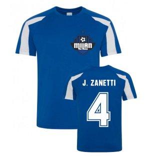 Javier Zanetti Milan Sport Training Jersey (Blue)