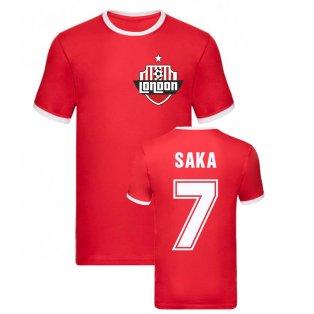 Bukayo Saka Arsenal Ringer Tee (Red)