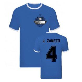 Javier Zanetti Milan Ringer TShirt (Blue)