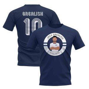 Jack Grealish England Illustration T-Shirt (Navy)