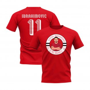 Zlatan Ibrahimovic Milan Illustration T-Shirt (Red)