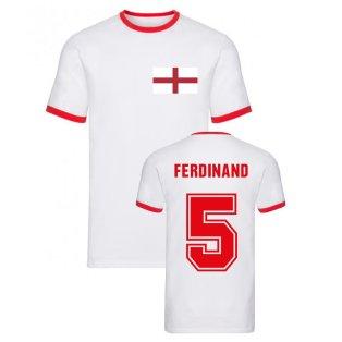 Rio Ferdinand England Ringer Tee (White)