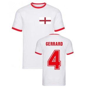 Steven Gerrard England Ringer Tee (White)