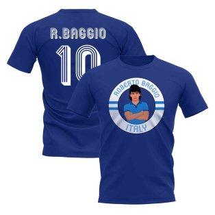 Roberto Baggio Italy Illustration T-Shirt (Blue)