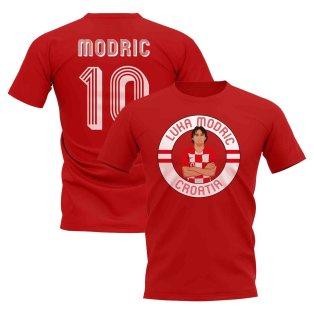 Luka Modric Croatia Illustration T-Shirt (Red)