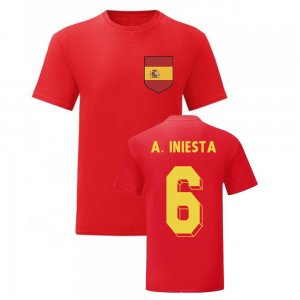Andres Iniesta Spain National Hero Tee (Red)