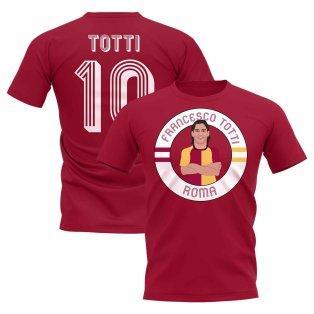 Francesco Totti Rome Illustration T-Shirt (Maroon)