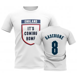 England Its Coming Home T-Shirt (Gascoigne 8) - White