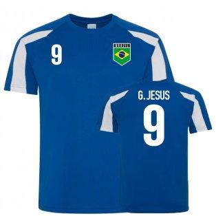 Brazil Sports Training Jersey (G. Jesus 9)