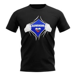 Slovakia Chest Badge T-Shirt (Black)