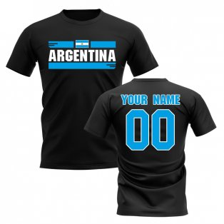 Personalised Argentina Fan Football T-Shirt (Black)
