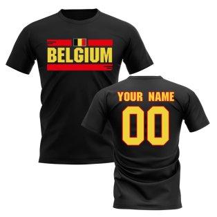 Personalised Belgium Fan Football T-Shirt (black)