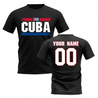 Personalised Cuba Fan Football T-Shirt (black)