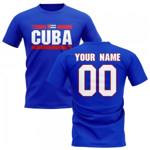 Personalised Cuba Fan Football T-Shirt (blue)