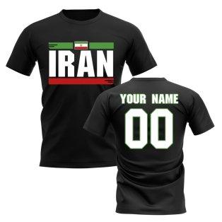 Personalised Iran Fan Football T-Shirt (black)