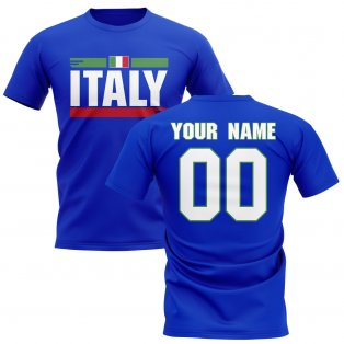 Personalised Italy Fan Football T-Shirt (blue)