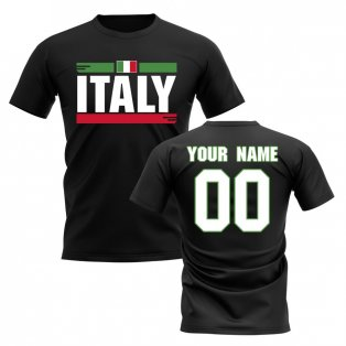 Personalised Italy Fan Football T-Shirt (black)