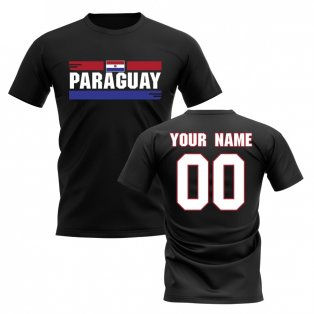 Personalised Paraguay Fan Football T-Shirt (black)