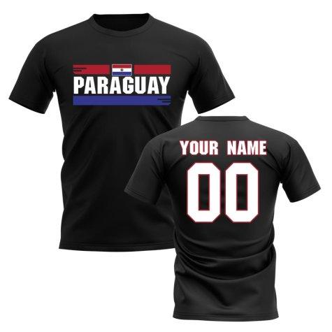 Personalised Paraguay Fan Football T-Shirt (black)