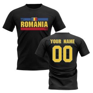 Personalised Romania Fan Football T-Shirt (black)