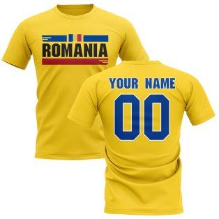 Personalised Romania Fan Football T-Shirt (Yellow)