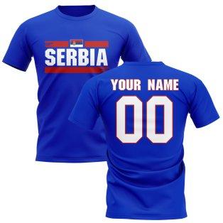 Personalised Serbia Fan Football T-Shirt (blue)