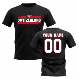 Personalised Switzerland Fan Football T-Shirt (black)