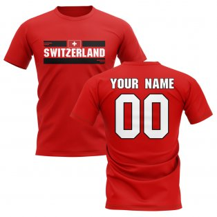 Personalised Switzerland Fan Football T-Shirt (red)