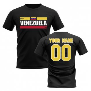 Personalised Venezuela Fan Football T-Shirt (black)